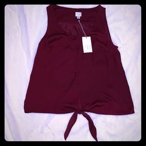 NWT Burgundy button blouse